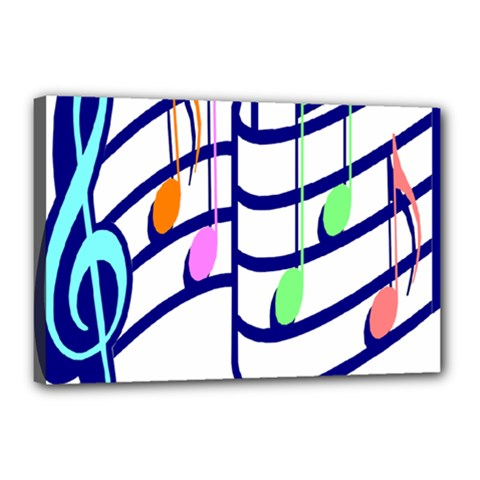 Music Note Tone Rainbow Blue Pink Greeen Sexy Canvas 18  X 12  by Mariart