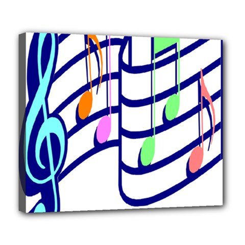 Music Note Tone Rainbow Blue Pink Greeen Sexy Deluxe Canvas 24  X 20   by Mariart