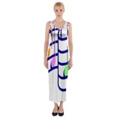 Music Note Tone Rainbow Blue Pink Greeen Sexy Fitted Maxi Dress