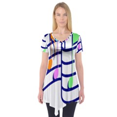 Music Note Tone Rainbow Blue Pink Greeen Sexy Short Sleeve Tunic