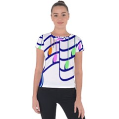 Music Note Tone Rainbow Blue Pink Greeen Sexy Short Sleeve Sports Top  by Mariart