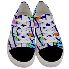 Music Note Tone Rainbow Blue Pink Greeen Sexy Women s Low Top Canvas Sneakers