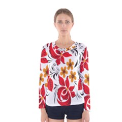 Flower Red Rose Star Floral Yellow Black Leaf Women s Long Sleeve Tee