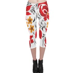 Flower Red Rose Star Floral Yellow Black Leaf Capri Leggings  by Mariart
