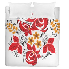 Flower Red Rose Star Floral Yellow Black Leaf Duvet Cover Double Side (queen Size) by Mariart