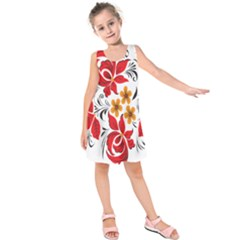 Flower Red Rose Star Floral Yellow Black Leaf Kids  Sleeveless Dress by Mariart
