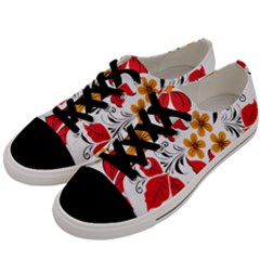 Flower Red Rose Star Floral Yellow Black Leaf Men s Low Top Canvas Sneakers by Mariart