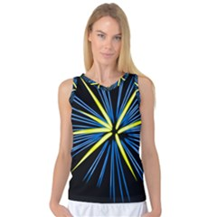 Fireworks Blue Green Black Happy New Year Women s Basketball Tank Top