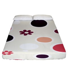 Polka Dots Flower Floral Rainbow Fitted Sheet (king Size) by Mariart