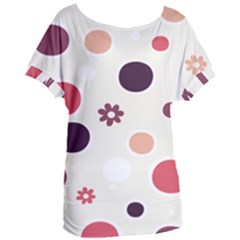 Polka Dots Flower Floral Rainbow Women s Oversized Tee by Mariart