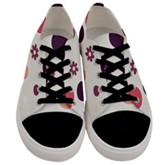 Polka Dots Flower Floral Rainbow Men s Low Top Canvas Sneakers