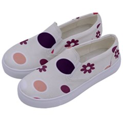 Polka Dots Flower Floral Rainbow Kids  Canvas Slip Ons by Mariart