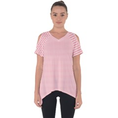 Red Polka Dots Line Spot Cut Out Side Drop Tee
