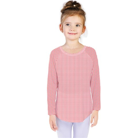 Red Polka Dots Line Spot Kids  Long Sleeve Tee by Mariart