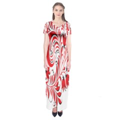 Red Flower Floral Leaf Short Sleeve Maxi Dress
