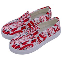Red Flower Floral Leaf Kids  Canvas Slip Ons by Mariart