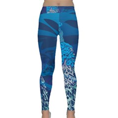 Peacock Bird Blue Animals Classic Yoga Leggings by Mariart