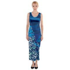 Peacock Bird Blue Animals Fitted Maxi Dress