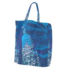 Peacock Bird Blue Animals Giant Grocery Zipper Tote by Mariart