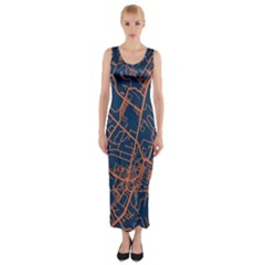 Virginia Map Art City Fitted Maxi Dress