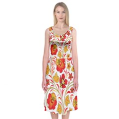 Wreaths Flower Floral Sexy Red Sunflower Star Rose Midi Sleeveless Dress