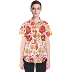 Wreaths Flower Floral Sexy Red Sunflower Star Rose Women s Short Sleeve Shirt by Mariart