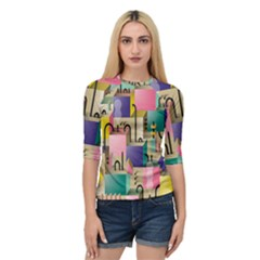 Magazine Balance Plaid Rainbow Quarter Sleeve Raglan Tee by Mariart
