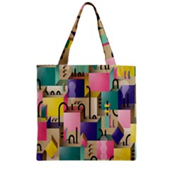 Magazine Balance Plaid Rainbow Zipper Grocery Tote Bag