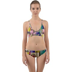 Magazine Balance Plaid Rainbow Wrap Around Bikini Set