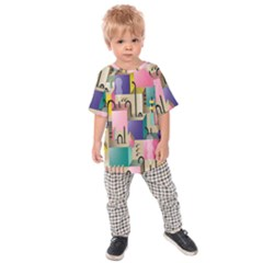 Magazine Balance Plaid Rainbow Kids Raglan Tee by Mariart