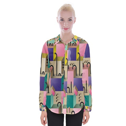 Magazine Balance Plaid Rainbow Womens Long Sleeve Shirt by Mariart