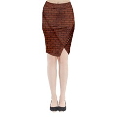 Brick1 Black Marble & Reddish Brown Leather Midi Wrap Pencil Skirt