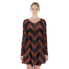 Chevron9 Black Marble & Reddish Brown Leather (r) Long Sleeve Velvet V Neck Dress