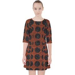 Circles1 Black Marble & Reddish Brown Leather Pocket Dress