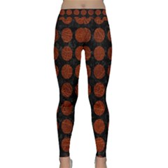Circles1 Black Marble & Reddish Brown Leather (r) Classic Yoga Leggings by trendistuff