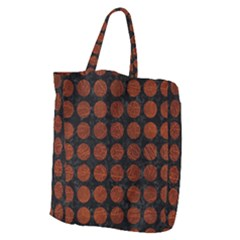 Circles1 Black Marble & Reddish Brown Leather (r) Giant Grocery Zipper Tote by trendistuff