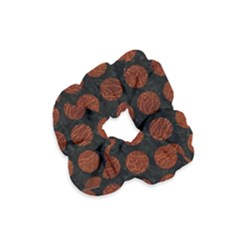 Circles1 Black Marble & Reddish Brown Leather (r) Velvet Scrunchie