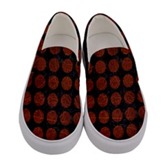 Circles1 Black Marble & Reddish Brown Leather (r) Women s Canvas Slip Ons