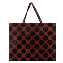 Circles2 Black Marble & Reddish Brown Leather Zipper Large Tote Bag by trendistuff