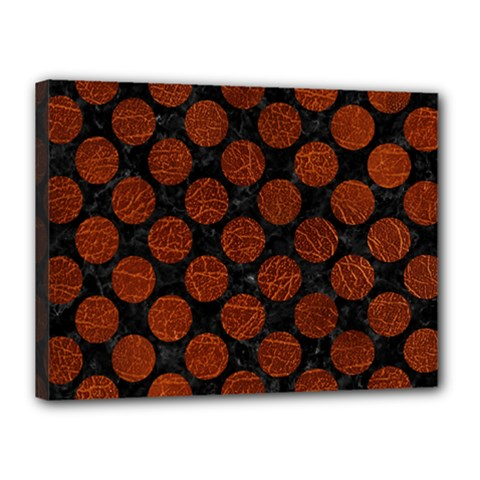 Circles2 Black Marble & Reddish Brown Leather (r) Canvas 16  X 12  by trendistuff