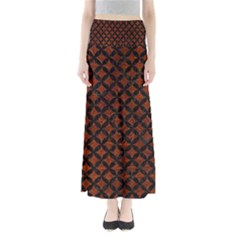 Circles3 Black Marble & Reddish Brown Leather Full Length Maxi Skirt by trendistuff