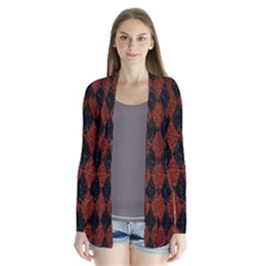 Diamond1 Black Marble & Reddish Brown Leather Drape Collar Cardigan by trendistuff