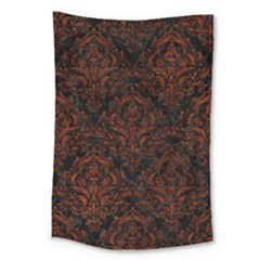 Damask1 Black Marble & Reddish Brown Leather (r) Large Tapestry by trendistuff