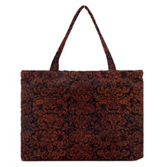 Damask2 Black Marble & Reddish Brown Leather (r) Zipper Medium Tote Bag by trendistuff