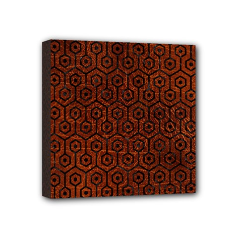 Hexagon1 Black Marble & Reddish Brown Leather Mini Canvas 4  X 4  by trendistuff