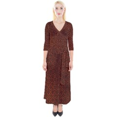 Hexagon1 Black Marble & Reddish Brown Leather Quarter Sleeve Wrap Maxi Dress