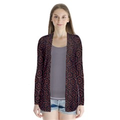Hexagon1 Black Marble & Reddish Brown Leather (r) Drape Collar Cardigan by trendistuff