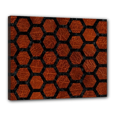 Hexagon2 Black Marble & Reddish Brown Leather Canvas 20  X 16  by trendistuff