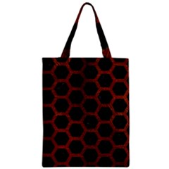 Hexagon2 Black Marble & Reddish Brown Leather (r) Zipper Classic Tote Bag by trendistuff