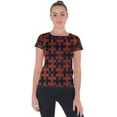 Puzzle1 Black Marble & Reddish Brown Leather Short Sleeve Sports Top